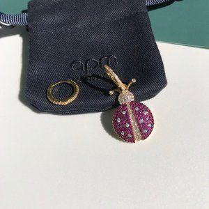 Apm Monaco Gold Ladybug Asymmetric Earrings